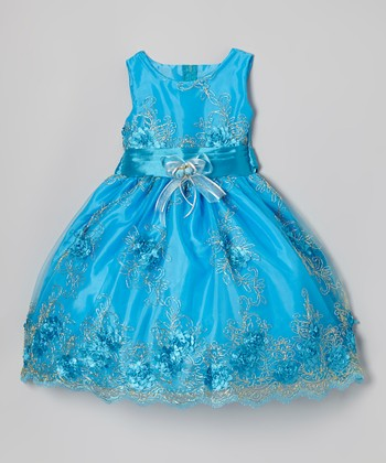 Bright Blue Embroidered Dress - Infant, Toddler & Girls