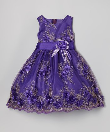 Bright Purple Embroidered Dress - Infant, Toddler & Girls