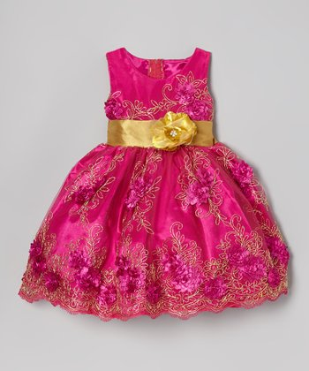Magenta Pink & Gold Embroidered Dress - Infant, Toddler & Girls