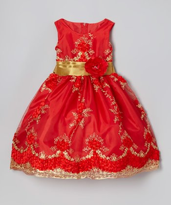 Bright Red & Gold Embroidered Dress - Infant, Toddler & Girls