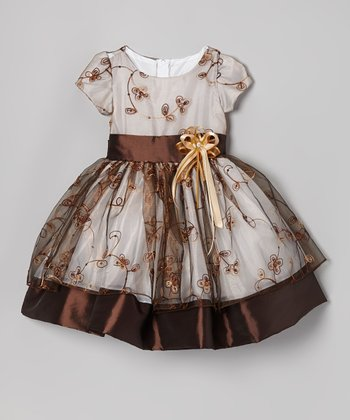 Brown Flower Embroidered Dress - Infant, Toddler & Girls