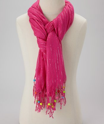 Fuchsia Stripe Beaded Scarf