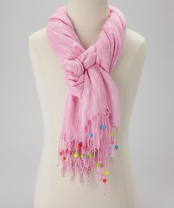 Pink Stripe Beaded Scarf