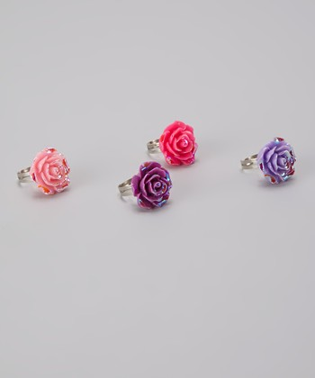 Metallic Princess Rose Ring Set
