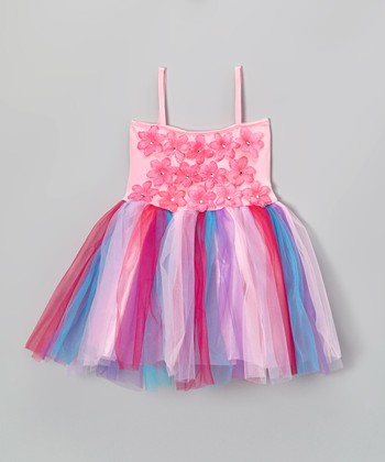 Pink Flower Stone Tulle Dress - Toddler & Girls