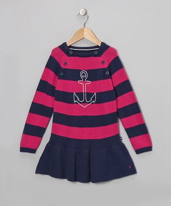 Pink & Navy Stripe Anchor Dress - Infant & Girls