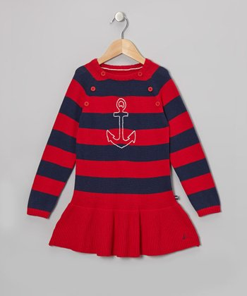 Red & Navy Stripe Anchor Dress - Girls