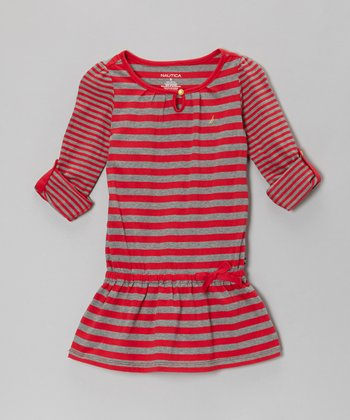Red & Gray Stripe Drop-Waist Dress - Toddler & Girls