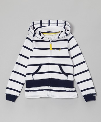 Navy Blue Stripe Zip-Up Hoodie - Girls