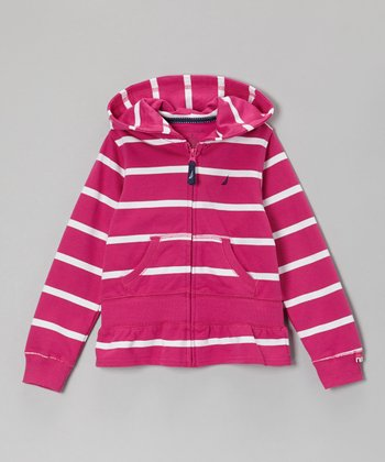 Bright Pink Stripe Zip-Up Hoodie - Girls