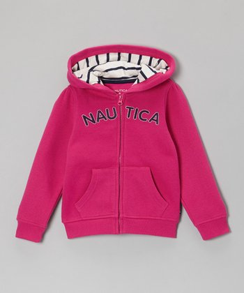 Bright Pink 'Nautica' Zip-Up Hoodie - Girls