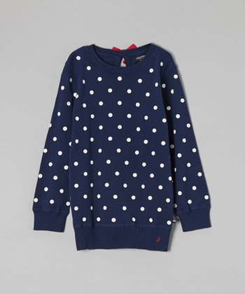 Navy Blue Polka Dot Sweater - Girls