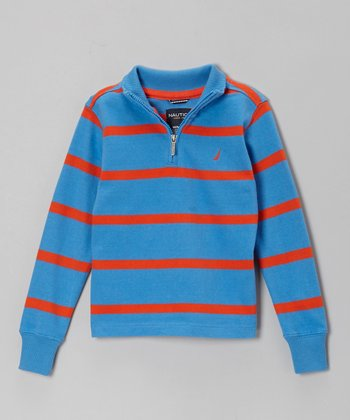Blue & Orange Stripe Pullover - Boys