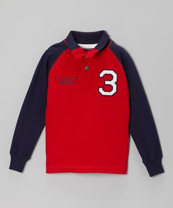 Red Long-Sleeve Polo Shirt - Boys