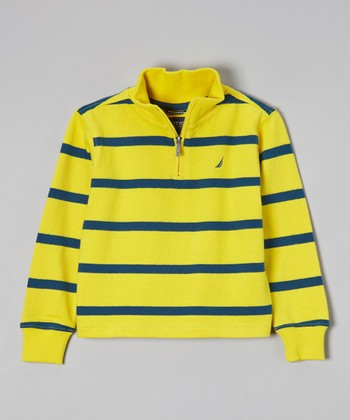 Yellow & Blue Stripe Pullover - Boys