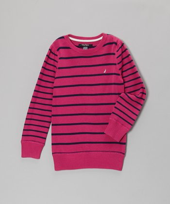 Bright Pink Stripe Long-Sleeve Sweater - Girls