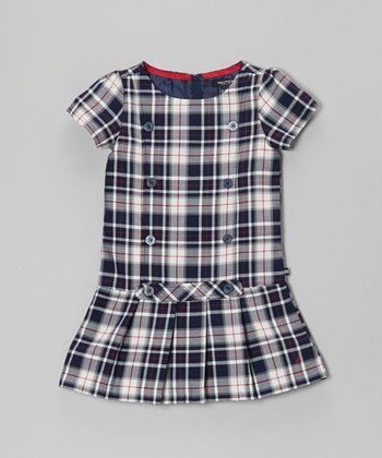Navy Blue & White Plaid Jumper Dress - Infant
