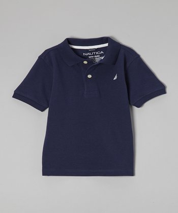 Navy Blue Short-Sleeve Polo - Boys