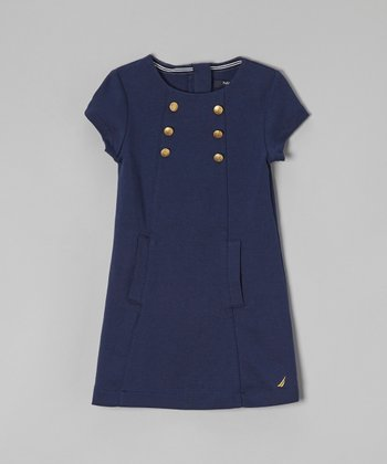 Navy Blue Short-Sleeve Ponte Dress - Infant & Toddler