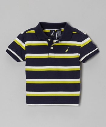 Navy & Yellow Stripe Polo - Infant