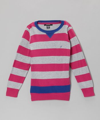 Pink & Gray Stripe Sweater - Girls