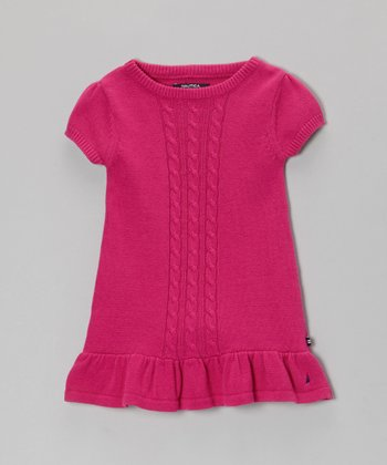 Bright Pink Sweater Dress - Girls