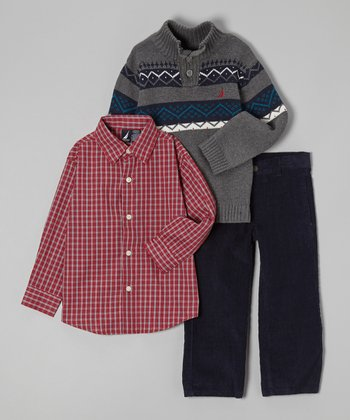 Gray & Blue Pullover Set - Toddler & Boys
