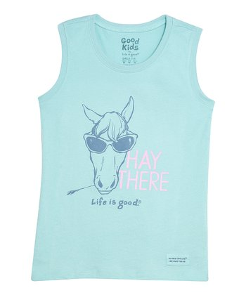 Tide Blue 'Hay There' Sleeveless Crusher Tee - Girls