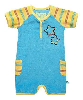 Summer Turquoise Star Raglan Romper - Infant