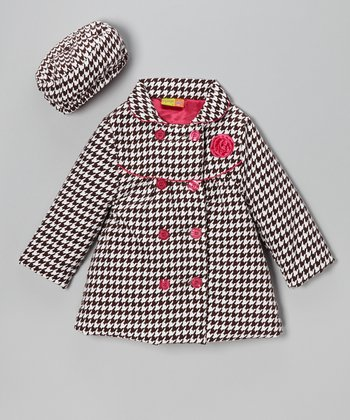 Brown & Pink Houndstooth Coat & Hat - Girls