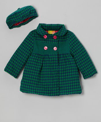 Green Houndstooth Coat & Hat - Infant