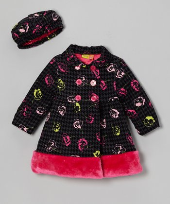 Black & Pink Rose Corduroy Coat & Hat - Infant & Girls