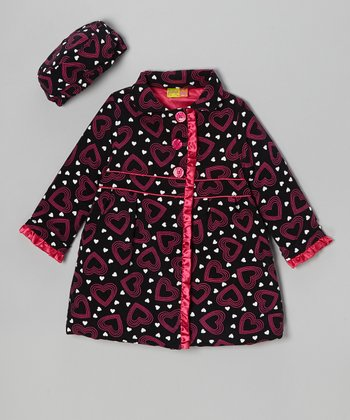 Pink Heart Ruffle Corduroy Swing Coat & Hat - Girls