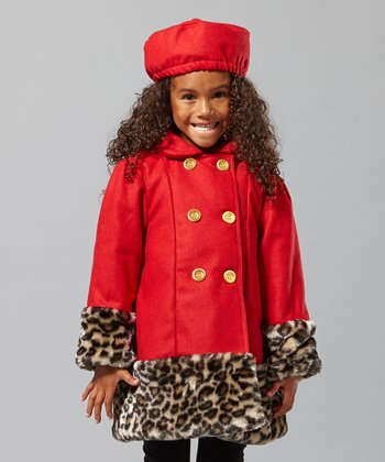 Red Leopard Swing Coat & Hat - Infant & Girls