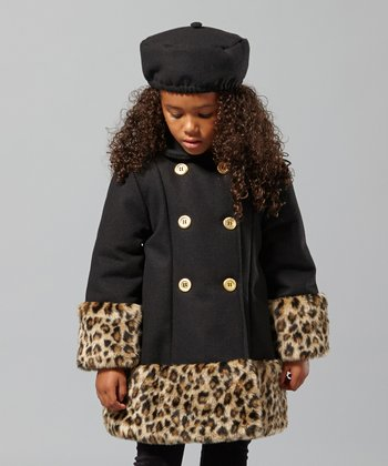 Black Leopard Swing Coat - Infant, Toddler & Girls