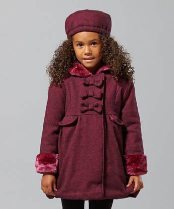 Pink & Pink Wool-Blend Bow Coat - Infant, Toddler & Girls