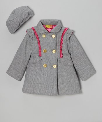 Gray & Pink Wool-Blend Ruffle Coat & Hat - Girls