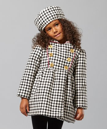 Black & White Diamond Wool-Blend Coat - Toddler & Girls