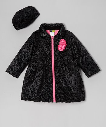 Black Cheetah Flower Puffer Coat & Hat - Girls