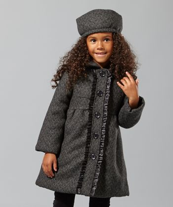 Black Tweed Ruffle Peacoat - Girls