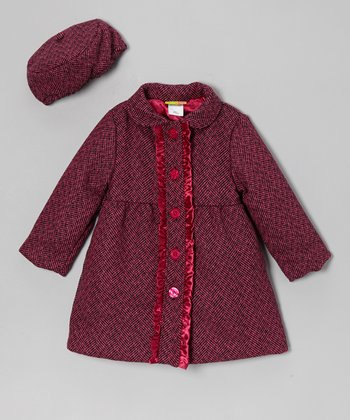 Pink Tweed Wool-Blend Ruffle Coat - Girls