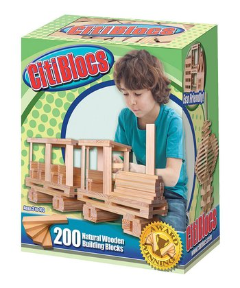 Natural Wooden Building Blocks Set