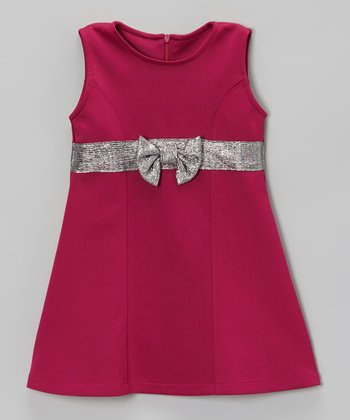 Pink & Silver Bow Sleeveless Ponte Dress - Toddler