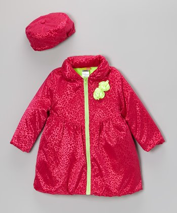 Pink & Green Leopard Coat & Hat - Infant