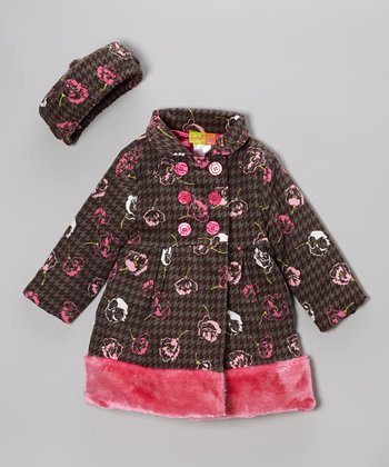 Gray & Pink Floral Coat & Hat - Infant & Girls