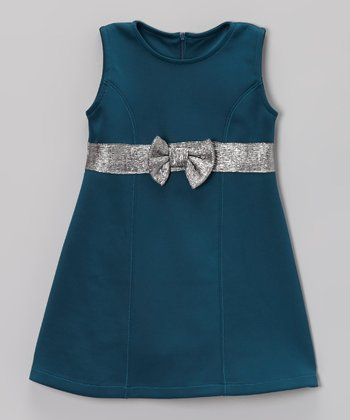 Teal & Silver Bow Sleeveless Ponte Dress - Toddler