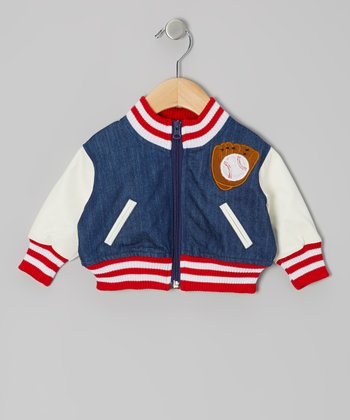 Blue & White Baseball Jacket - Infant