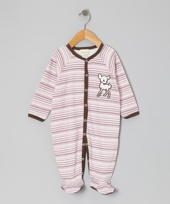 Pink Stripe Fawn Footie - Infant