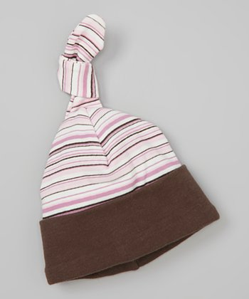 Pink Stripe Fawn Single-Knot Beanie