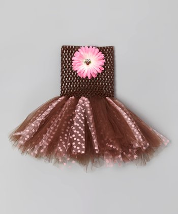 Brown & Pink Polka Dot Owl Tutu Dress - Infant